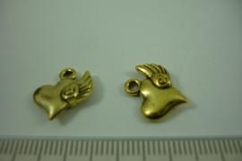 [ 1223 ] Hartje met Vleugel  14.3 x 13.6 mm. Goudkleur, per stuk