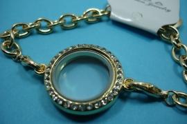 [ 6254 ] Armband 19 cm. met Locker Rond 25mm. Goudkleur met Glitter, per stuk