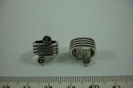 [ 0960 ] Leerschuif 14 x 10.5 mm. Krul, Metaal, per stuk