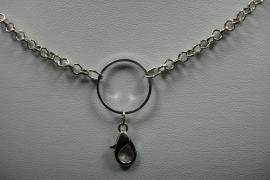 [ 6269 ] Ketting 70 cm. met ring en slotje, Verzilverd, per stuk