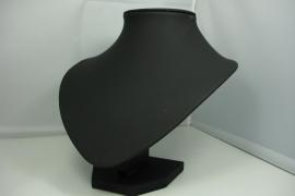 *[9060 ] Hals Punt, Zwart leer mat, Kort 18 cm.
