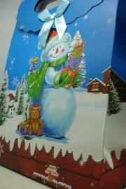 *[ 5966 ] Kerst tas 19 x 27 cm. Sneeuwpop, per stuk