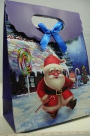 *[ 5961 ] Kerst Tasje  12.5 x 16 cm. Kerstman in de sneeuw, per stuk