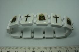 [5734 ] Geluks armband Wit met kruis, per stuk
