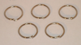 (5130) Ring open  12 mm.  chroom.  22 stuks.