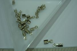 [ 5776-A ] Veter klem ribbel mini 3 x 2 mm. Mat zilverkleur, 20 stuks