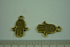 [ 1226 ] Fatima handje 19.4 x 13.2 mm. Goudkleur, per stuk