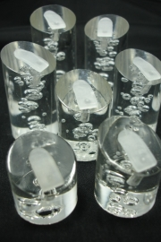 *[ 9133 ] Set van 7 stuks Ringen displays, Helder met bubbels.