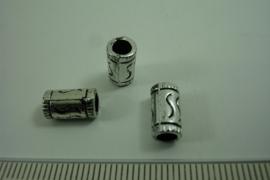 [ 6449 ] Metallook bewerkte Tube kraal, Zilver kleur, per stuk