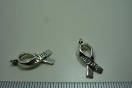 [ 0946 ] Strikje HOPE 19 mm.  Metaal Zilverkleur, per stuk