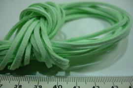 [ 6075 ] Plat Suede Veter 2.8 mm. Baby Groen, per meter