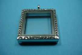 [ 6234 ] Locker Vierkant 30 mm. Zilverkleur met Glitter, per stuk