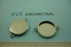 [ 8536 ]  RVS  Connector  14 mm.  per 2 stuks