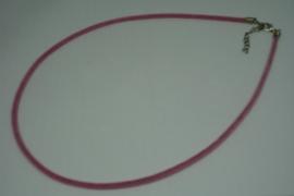[5707 ] Ketting met slotje, Roze Fluweel, 46 cm.