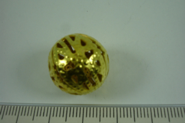 [ 6824 ] Filigrein kraal 18 mm. Verguld, per stuk