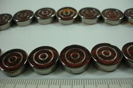 [ 6475 ] Glas kraal rond 15.5 mm. met Zilverranden, 21 stuks