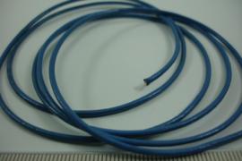 [ 7025 ] Echt Leer rond 1.5 mm. Blauw, per meter