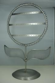 *[ 9074 ] Oorbel display Bloem, 24 x 36 cm. Metaal Grijs