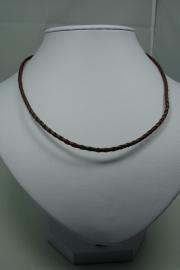 [ 5861 ] Gevlochten Bruin 3.5 mm. kunstleer ketting met slot, per stuk
