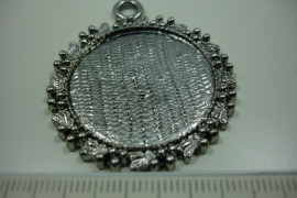 [ 0861 ] Cabochon houder 38 mm. Rond, Zilverkleur, per stuk