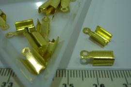 [ 7130 ] Veterklem ribbel 8 x 5 mm. Goudkleur, 12 stuks