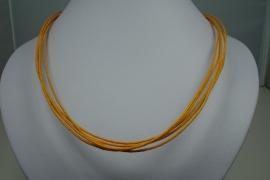 [ 5932 ] 5 Oranje Draden Ketting 45 cm. met slot, per stuk