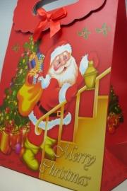 *[ 5965 ] Kerst tas 19 x 27 cm. Kerstman op trap, per stuk