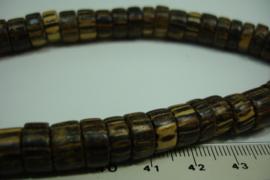 [ 10108 ] Palmhout schijfjes 10 mm. donker Bruin met crème, per streng
