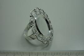 [ 0873 ] Ring Verzilverd, Ovaal 27.5 x 24 mm. per stuk