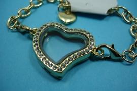 [ 6252 ] Armband 19 cm.Locker Hartje 28 mm. Goudkleur met Glitter, per stuk
