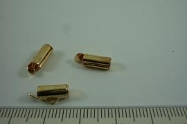 [ 6645 ] Inschuif buis klem 9.9 mm. Goudkleur, 6 stuks