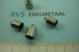 [ 8380 ] RVS,  Eindkapje 5 mm. inw.  per 4 stuks