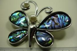 [ 6321 ] Vlinder broche 6 cm. Paua Schelp. per stuk