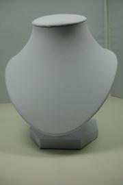 *[ 9215 ] Halsje Rond,  Wit Leer 15 cm.