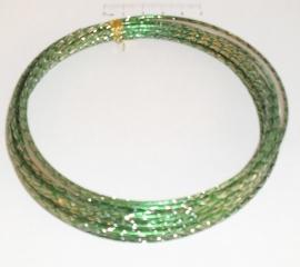(5223) Aluminium draad 2mm gedraaid groen/verzilverd. 5 meter.
