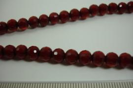 [ 8471 ] 6 mm. Glas kralen, D. Rood, +/- 54 cm. per streng