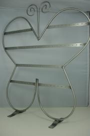 *[ 9076 ] Oorbel display Vlinder, 38 paar, Grijs Metaal.