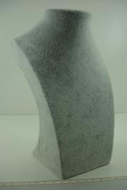 *[ 9334 ] Halsje Luxe 22 cm. Grijs fluweel