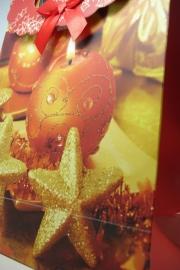 *[ 5968 ] Kerst tas 19 x 27 cm. Sterren/Kaars, per stuk