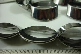 [ 6505 ]  Glaskraal 30 x 27 mm. Helder met Zilverrand, 11 stuks