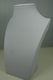 *[ 9204 ] Hals Luxe Wit Leer, Mini 20 cm.
