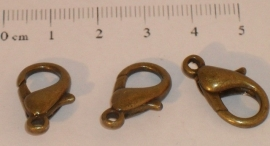 (5082) Karabijn slotje brons 20 mm. 3 stuks.