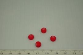 [0350 ] Glas kraal met rubber 6 mm. Rood