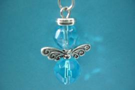 [ 1188 ] Engeltje 48 mm. Glas Kraaltjes, Turkoois Blauw, per stuk