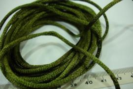 [ 5569 ] Satijn koord 2 mm. Mos Groen, 5 meter