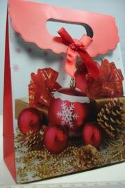 *[ 5964 ] Kerst Tasje  12.5 x 16 cm. Kerstballen, per stuk