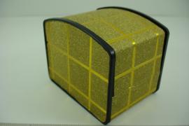 *[ 9362 ] Horloge/Armband doosje 10 x 7.5 cm. Goud kleur