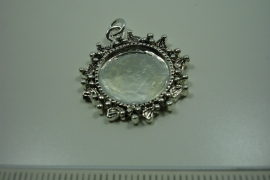 [ 0859 ] Cabochon houder 24 mm. Rond, Zilverkleur,  per stuk