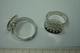 [ 0783 ] Ring met vaste zeef van 16 mm. Croom kleur, per stuk