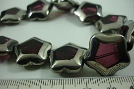 [ 6495 ] Glas kraal 5 kant 21 mm. Paars met Zilverrand, 15 stuks